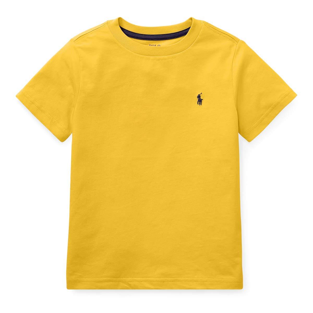 Ralph Lauren Little Boys Polo Crewneck Tee Solid (Large (14-16), Yellow)