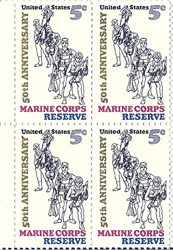 1966 US Postage Stamp 5 Cent Marine Corps Reserve Block Of 4 MNH Scott #1315 (Block Reserve)