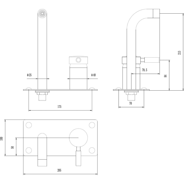 Chrome Hudson Reed PK370 Modern Round Bathroom Extended High Rise Mixer Swivel Tap