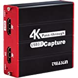 TreasLin 4K Game Capture Card with HDMI Pass-Through,Compatible with PS4/5 Nintendo Switch Wii U DSLR Xbox one on OBS,XSplit,