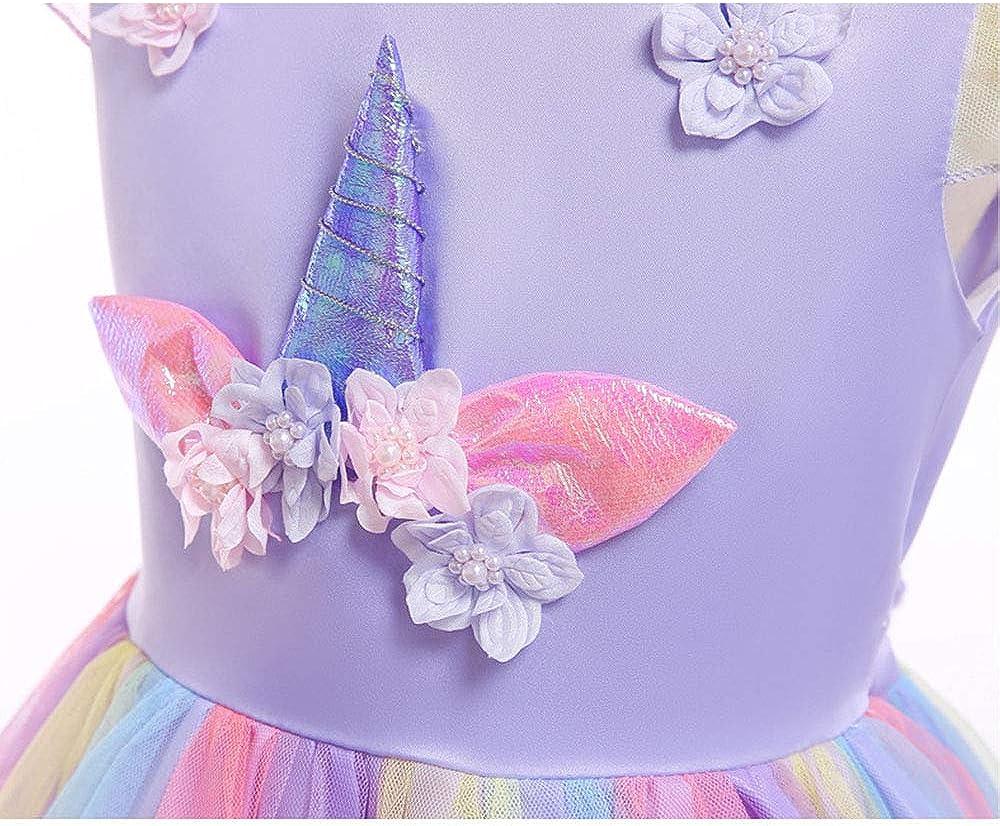 URAQT M/ädchen Einhorn Cosplay Party Hochzeit Prinzessin Kleid 100CM-150CM