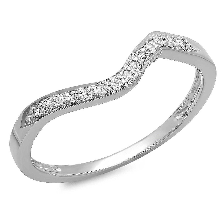 0.12 Carat (ctw) 10K Gold Diamond Anniversary Wedding Stackable Band Guard Ring