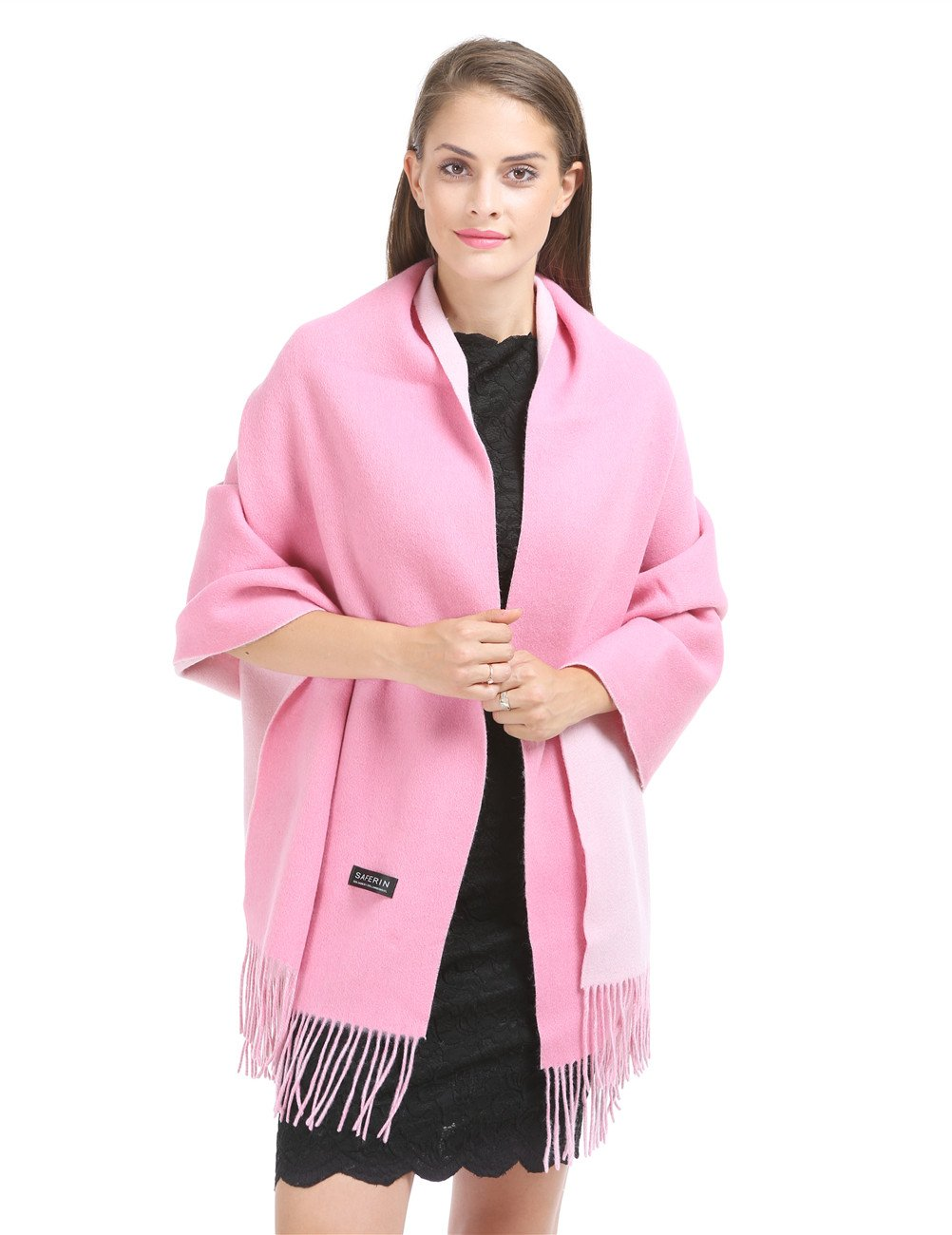 Saferin Extra Large 78''x28'' Women Two-sided Thick Solid Cashmere Lambswool Blend Pashmina Wrap Shawl Stole Scarf with Gift Box (34.pink and White)