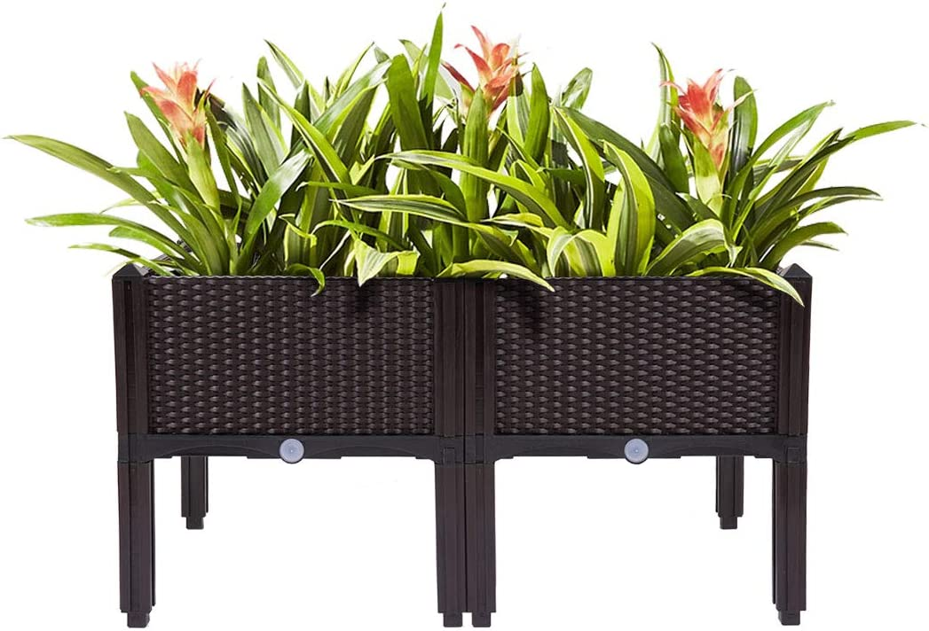 Jaxpety Rattan Style Plastic Raised Garden Bed Planter Kit Set Of 4 With 16 Legs Pots Planters Container Accessories Raised Beds