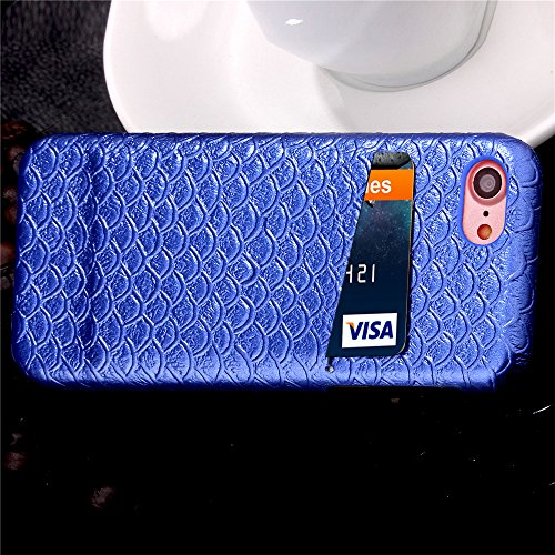 iPhone 7 Hülle, Cozy Hut ® Design Genuine Leather Series Hülle | Apple iPhone 7 | [Mermaid Fischschuppenmuster] Elastisch [marineblau ] Ultimative Schutz vor Stürzen und Stößen - [Skinning-Karte] Zube