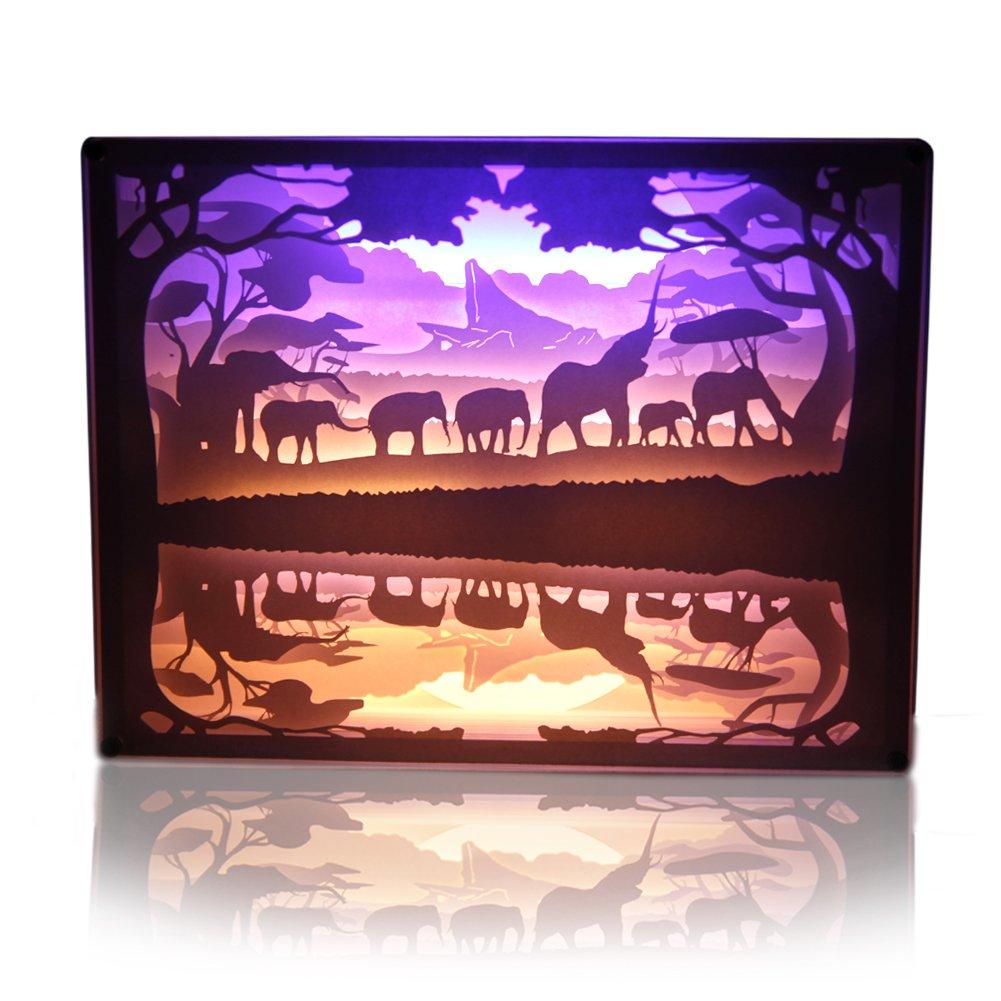 Papercut Light Box Elefanten Beleuchtung Lampe Kreative Nachttischlampe Malerei  Licht Geschenke Für Baby Und Erwachsener Dekoration Wedding Für Schlafzimmer  ...