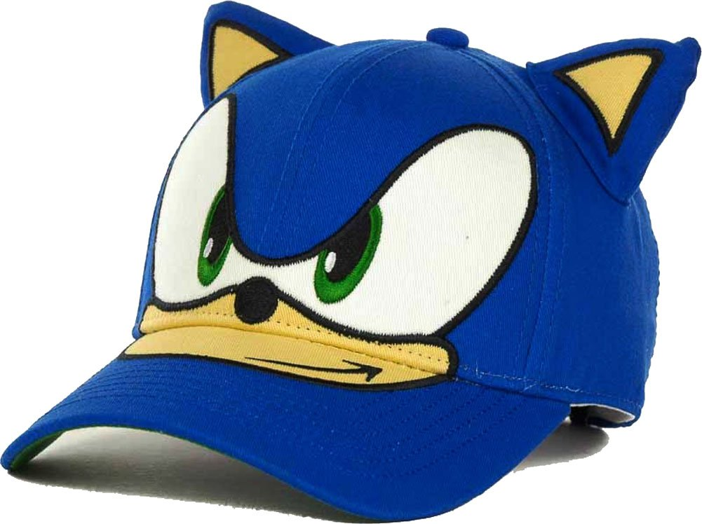 Sega Sonic The Hedgehog Big Face Kids Youth Velcro Adjustable Cap Hat with Ears One Size)