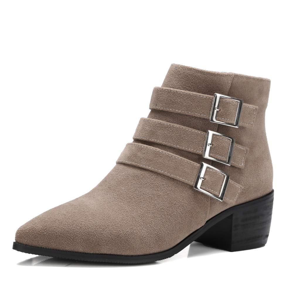 XQY XQY XQY Botas para Mujer - Tacón Bajo Botines para Mujer/Cinturón con Hebilla Retro Grueso con Zapatos de Cuero Pequeños/Botas Martin 34-43,Albaricoque,37 342c4d