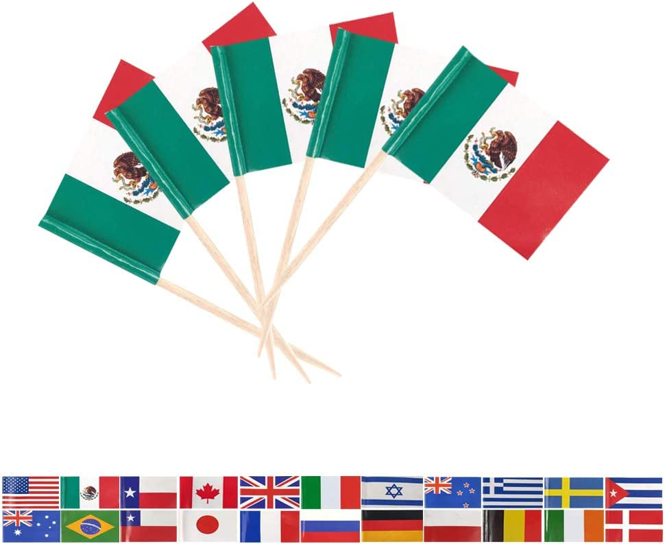 Tectsia MX Country Mexican Toothpick Flag, Mexico Flags, 100 Pcs Cupcake Toppers Flag, Small Mini Stick Flags Picks Party Decoration Celebration Cocktail Food Bar Cake Flags