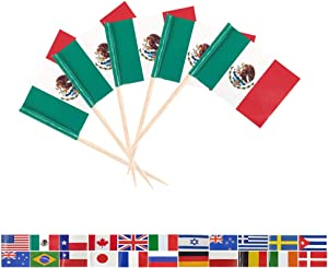 Tectsia MX Country Mexican Toothpick Flag, Mexico Flags, 200 Pcs Cupcake Toppers Flag, Small Mini Stick Flags Picks Party Decoration Celebration Cocktail Food Bar Cake Flags