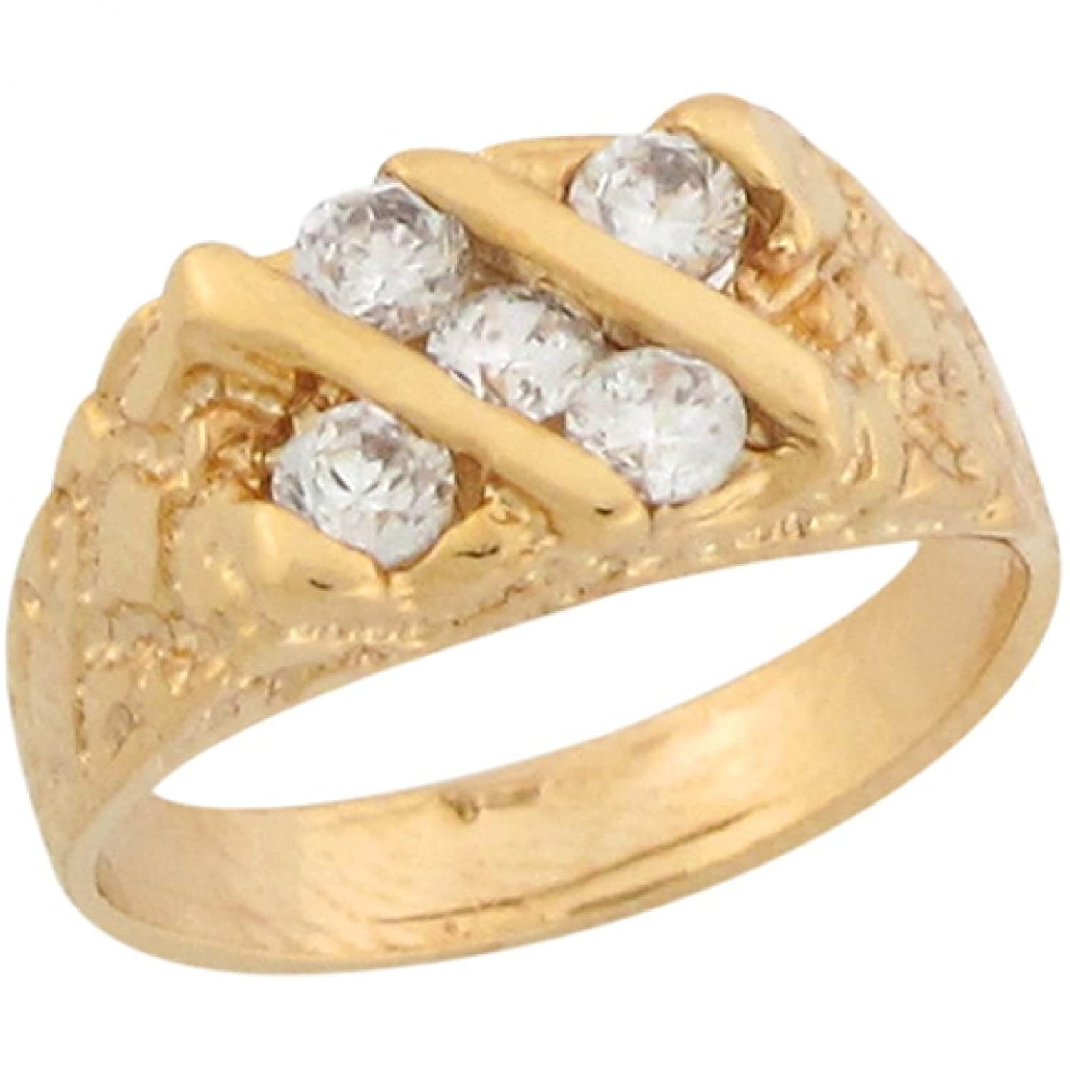 10k Real Yellow Gold White CZ Cluster Nugget Designer Baby Ring