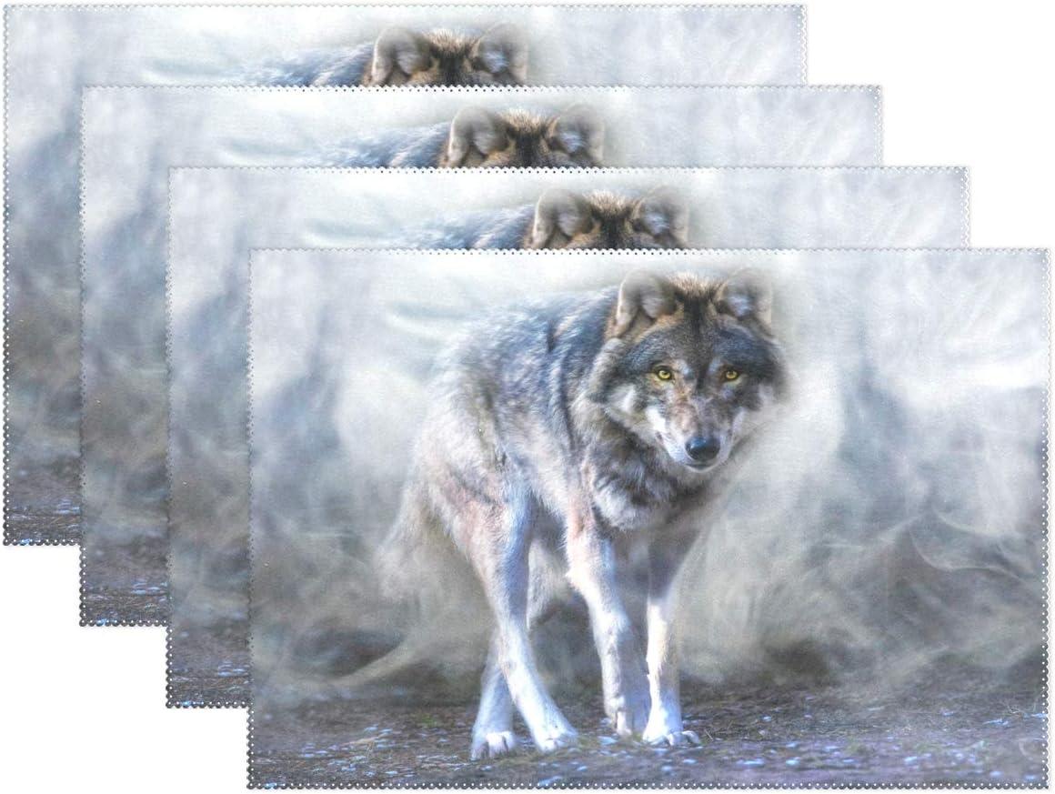 Vinlin Art - Juego de 4 manteles Individuales Resistentes al Calor de Lobo de 30 x 45 cm para Mesa de Comedor de Cocina, 1 Unidad: Amazon.es: Hogar