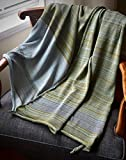 Organic Cotton Bamboo Hand-Knitted Throw Blanket for Home - Cloud Green Tea India Throw - Knit Home Decor by Pico Vela