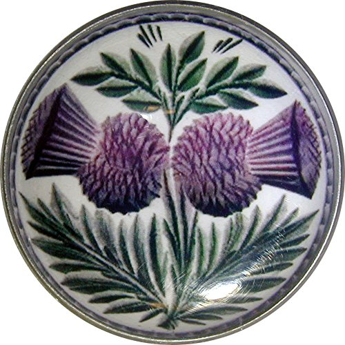 - Crystal Dome Button Scottish Double Thistle Lg Size 1 & 3/8