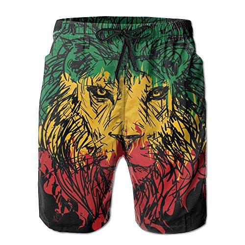 Rasta Lion Men's Swim Trunks Printed Quick Dry Board Shorts M (Rasta Big Stripes)