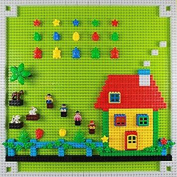 EKIND 4 PCS Classic Large Blocks Building Base Block Plate 10 x 10 Orange Building Brickyard Blocks All Major Brands Compatible for Large Pegs for Toddlers