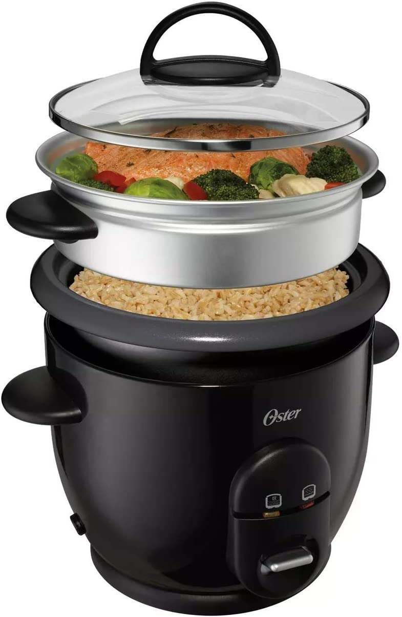 Oster 6 Cup Rice Cooker Non-Stick Auto Keep Warm Steam Fish Feat Veggies