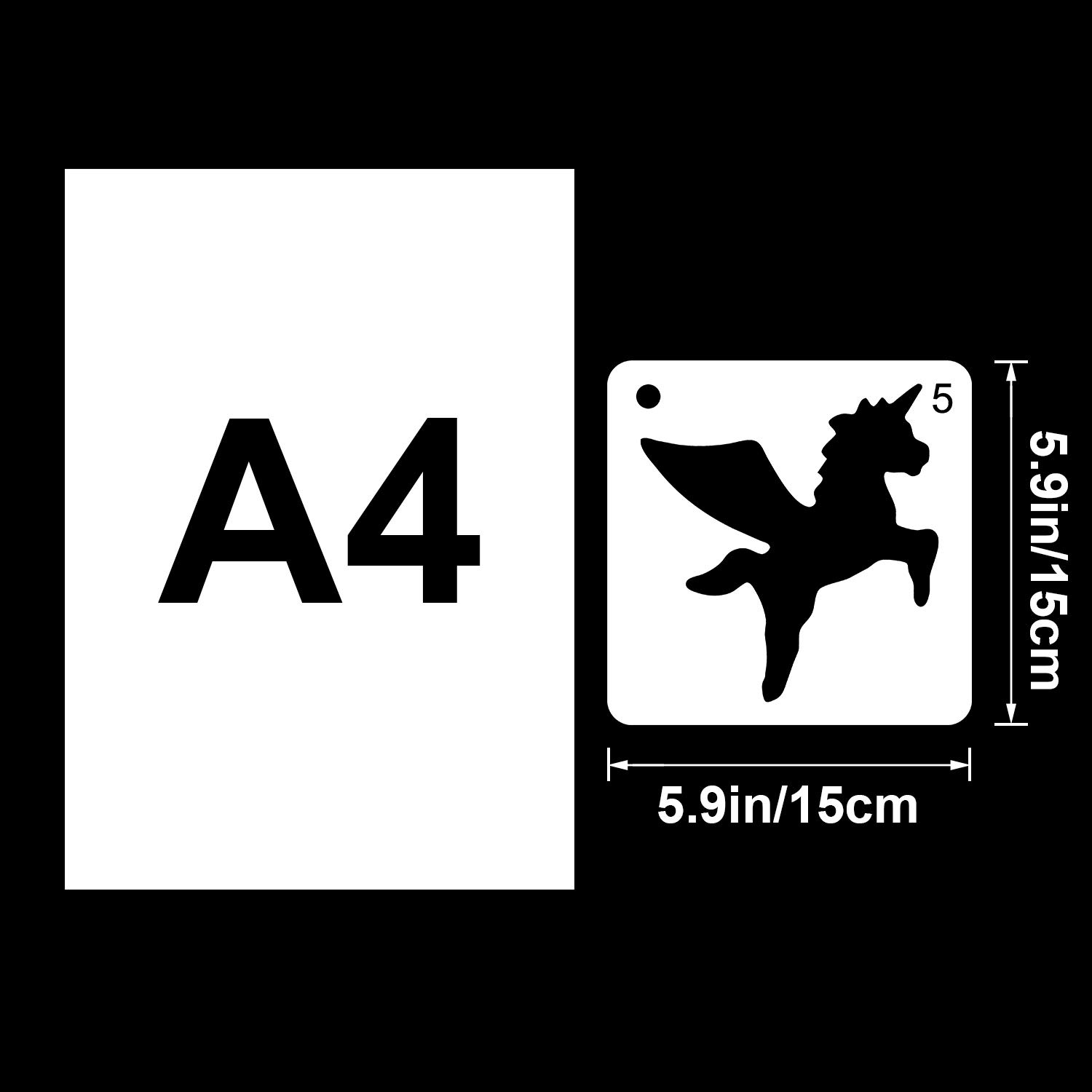 9 Pieces Unicorn Stencils Plastic Kids Drawing Stencil Reusable Unicorn Template for DIY Craft Painting Drawing