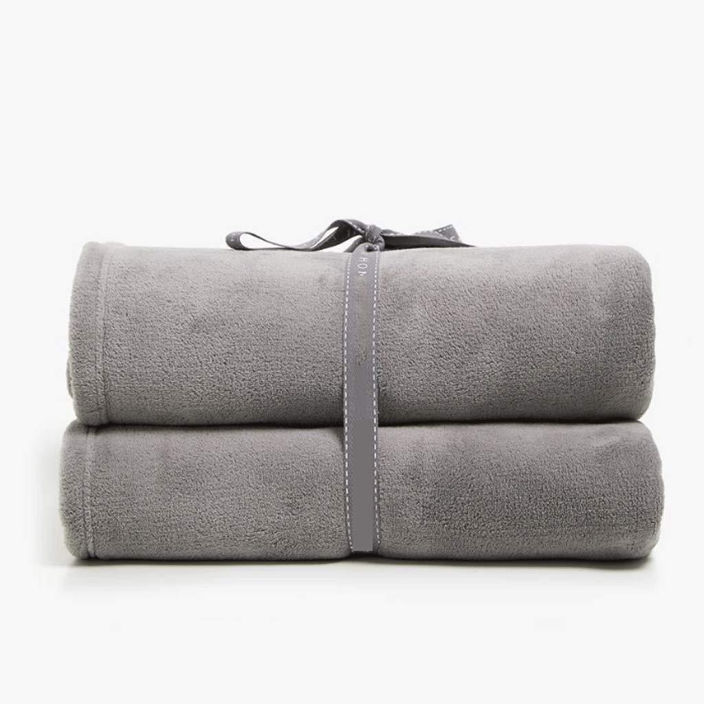 フランネルフリース高級毛布投げサイズ軽量居心地の良い豪華なマイクロファイバー固体毛布 (色 : グレー, サイズ さいず : 160X250cm) 160X250cm グレー B07Q36MBBN