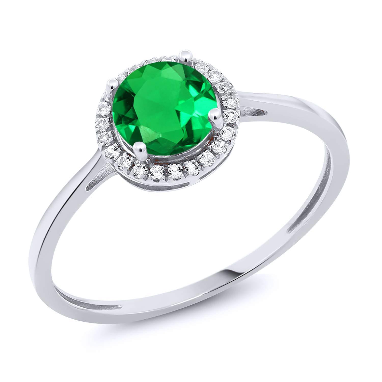 Gem Stone King 10K White Gold Diamond Engagement Ring Round Green Nano Emerald 0.99 cttw (Size 5)