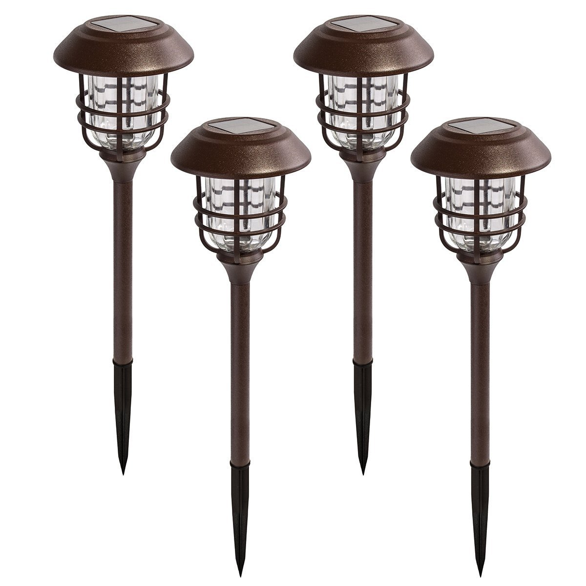 GIGALUMI 4 Pack Outdoor Solar Lights, Glass and Powder Coated Cast Aluminum Metal Path Lights, High Lumen Output per LED, Easy No Wire Installation