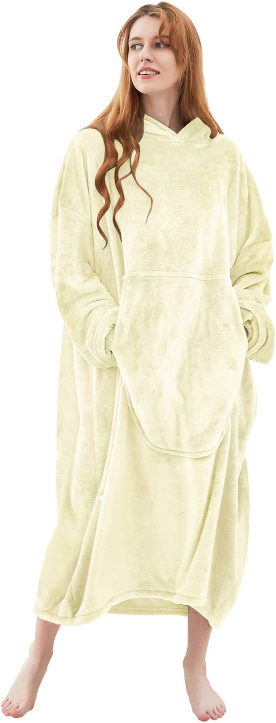 Fomoom Blanket Hoodie, Oversized Sweatshirt Wearable Fleece Flannel Blanket with Large Front Pocket for Adults, Men, Women, Teens (Beige Adult) …