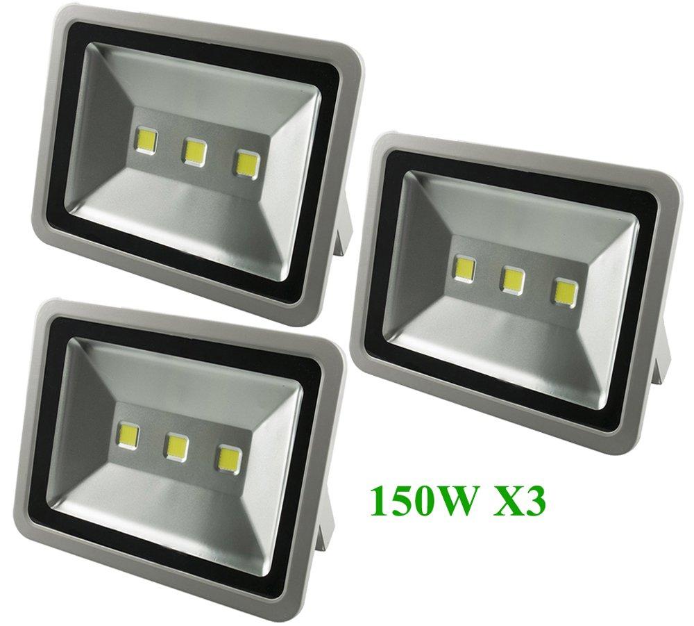 verdemigo Faretto Faro Led Esterno 150W Floodlight IP65 Impermeabile per Illuminazione in Casa Giardino Bianco Freddo 6500K(3pcs)
