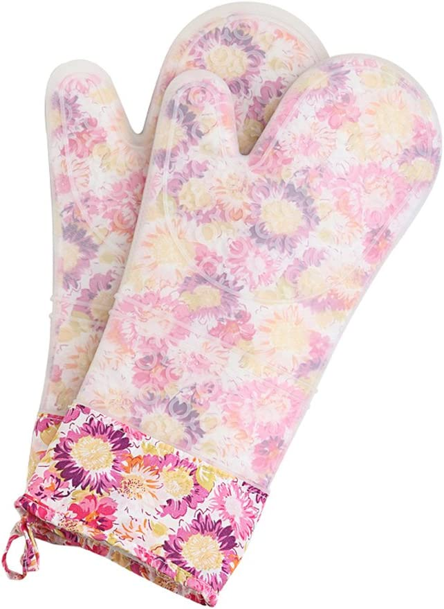 Set of 2 Oven Mitts Heat Resistant Silicone Oven Mitts Floral Oven Gloves Waterproof Silicone Oven Mitts Extra Long