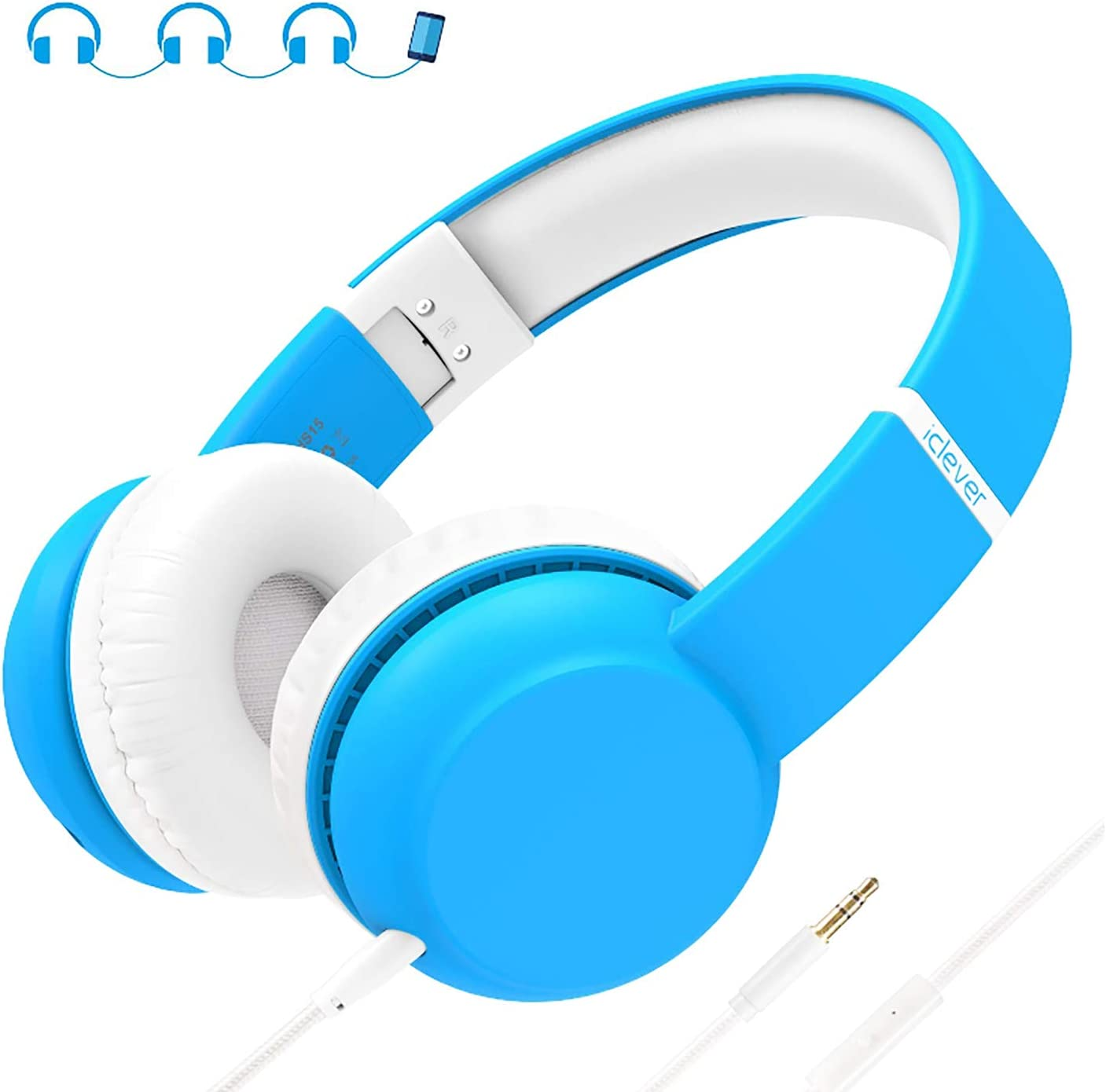 iClever HS15 Kids Headphones - Wired Headphones for Kids Stereo Sound Adjustable Metal Headband Microphone Foldable Tangle-Free Wires 94dB Volume Limiting - Childrens Headphones Over Ear, Blue, Small