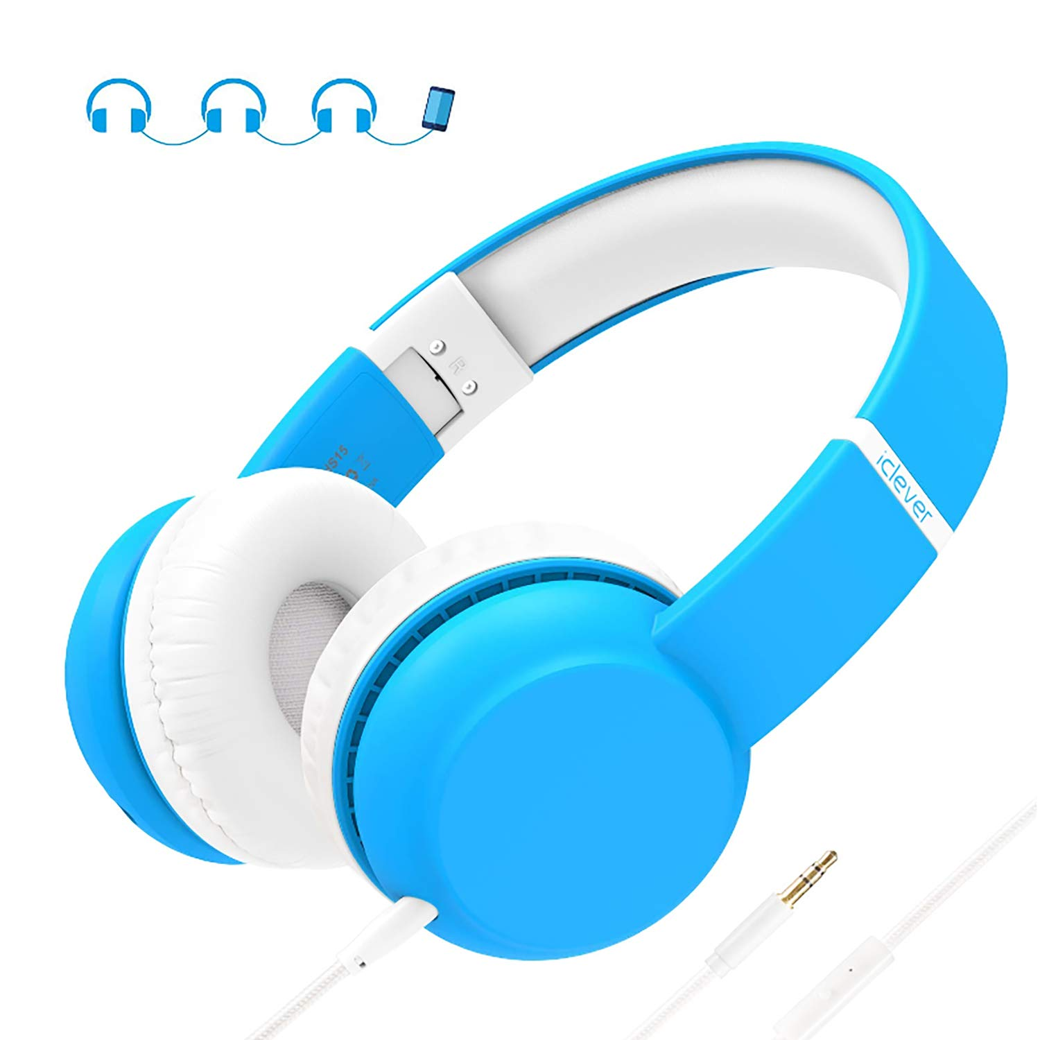 iClever HS15 Kids Headphones - Wired Headphones for Kids Stereo Sound Adjustable Metal Headband Microphone Foldable Tangle-Free Wires 94dB Volume Limiting - Childrens Headphones Over Ear, Blue, Small by iClever