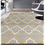 Rugshop Modern Moroccan Trellis Area Rug, 5' x 7', Gray/Yellow