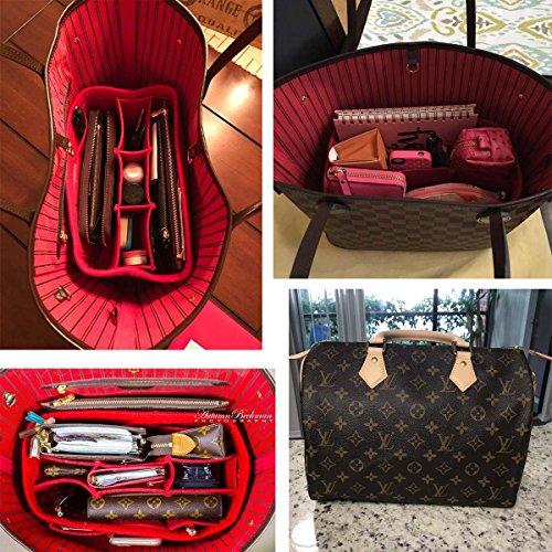 LEXSION Felt Handbag Organizer,Insert purse organizer Fits Speedy Neverfull Red M by LEXSION (Image #7)