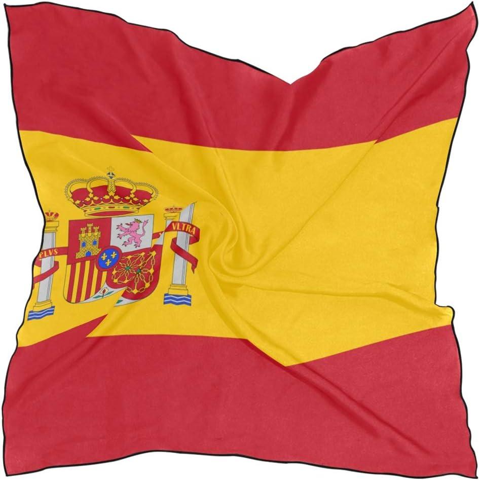 Pañuelo de la bandera de España para mujer, cuadrado, para la cabeza, 23.6 x 23.6 pulgadas con 10 horquillas: Amazon.es: Belleza