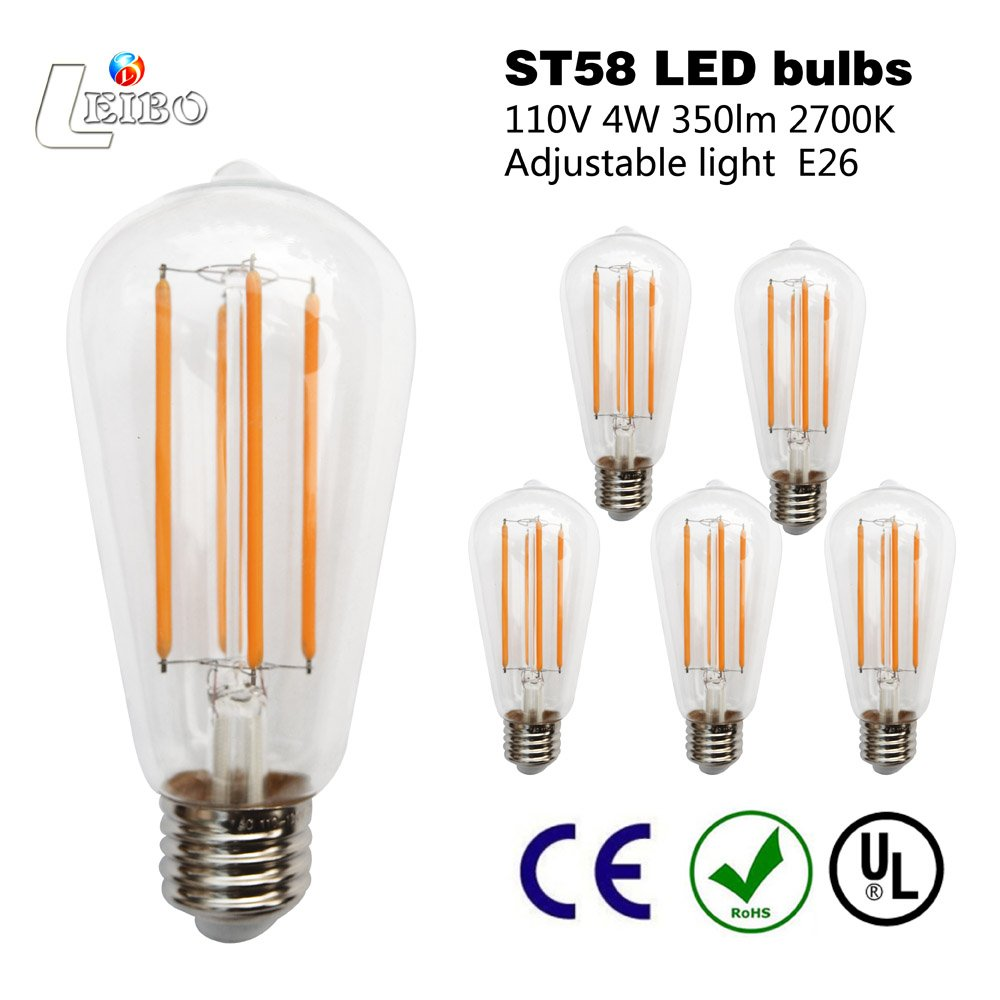 4 Medium Screw Base ST58 Non Dimmable Leibo Edison E26 Bulb 6 Pack 60 Watt Equivalent 2700K Soft White Bofa Electric