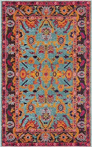 Unique Loom Medici Collection Abstract Botanical Vibrant Colors Light Blue Area Rug (5' 0 x 8' 0)