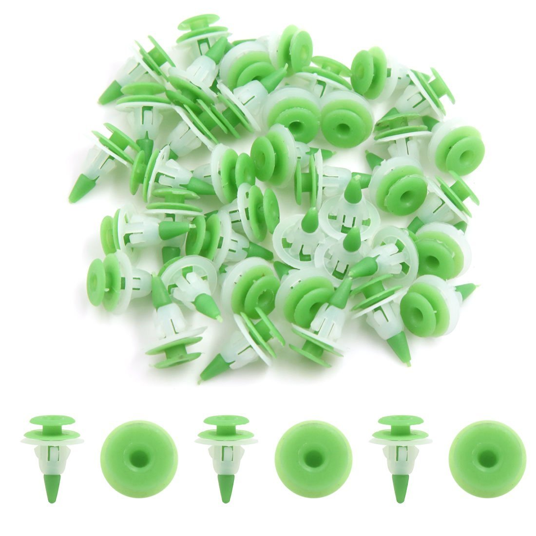 Amazon.com: eDealMax 40Pcs Verde de plástico Blanco de remaches parachoques Fender Moldeo Sujetador Clips de 10mm: Automotive