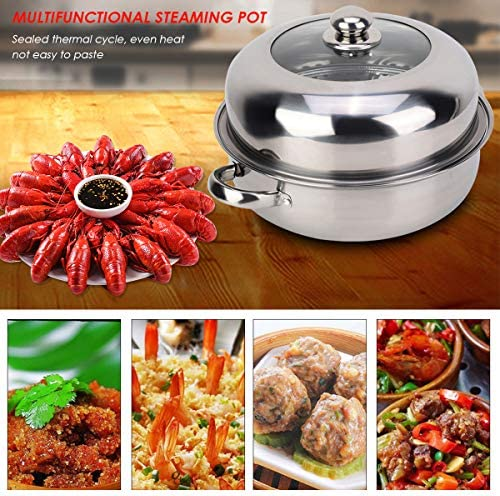 61eUDpSRpyL. AC HelloCreate Steamer Pot, Stainless Steel Single Layer Stockpot Hotpot Food Steamer Pot Cookware Household Cooking    Specification:Condition: 100% Brand NewProduct material: stainless steelSteamer layer: single layer + steamed dicePot diameter * Pot height: Approx. 28 * 8.5cm / 11 * 3.3inCover diameter * Cover height: Approx. 27.5 * 8.5cm / 10.8 * 3.3inSteaming sheet diameter * Height: Approx. 27.8 * 0.2cm / 10.9 * 0.1in