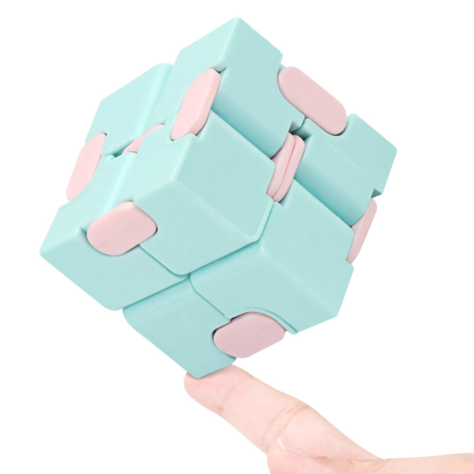 WUQID Infinity Cube Fidget Toy Stress Relieving Fidgeting Game for Kids and Adults,Cute Mini Unique Gadget for Anxiety Relief and Kill Time (Macaron Blue)