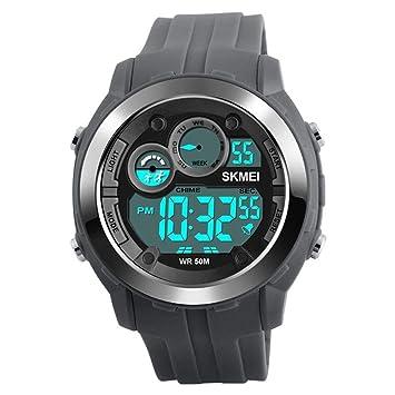 WULIFANG Reloj De Hombre Led Reloj Digital De Hombres Reloj Pulsera De Poliuretano Impermeable Outdoor Sports Watch Gris: Amazon.es: Deportes y aire libre