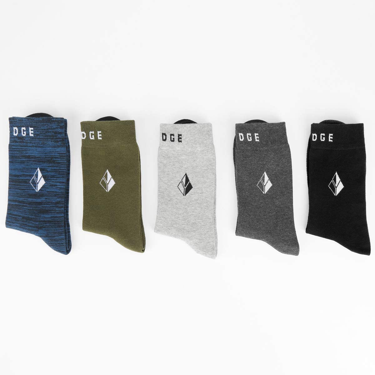 YUEDGE Mens Classic Breathable Comfortable Cotton Business Casual Mid Crew Calf Dress Socks for Men 5 Pairs Multipack