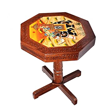 Saarthi Rajasthani Handcrafted and elephant Dhola Maru design handpainted Wooden Stool cum side table, cafeteria stool (Multicolour)