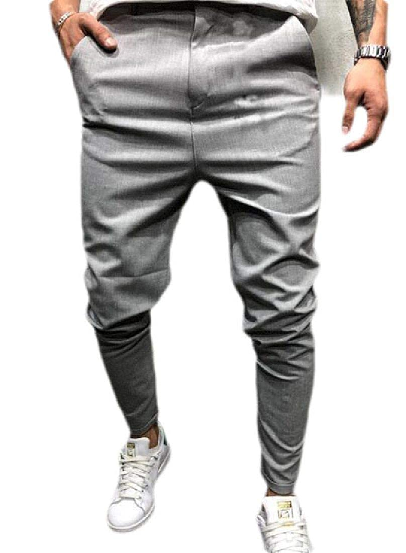GRMO Men Chino Straight Leg Pleat-Front Performance Casual Pants Trousers