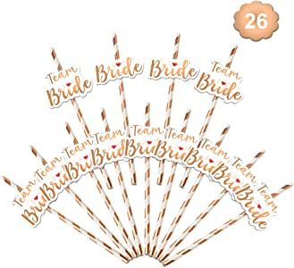 Konsait 26pcs Bachelorette Straws Rose Gold Bride Straw Team Bride Drinking Sipping Paper Straw, Bridal Wedding Shower, Bachelorette Hen Party Decoration Accessories, Bride to Be Gift