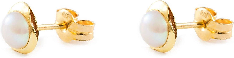 9kts Pendientes Bebe o Ni/ña oro amarillo Trebol con perla 4 mm