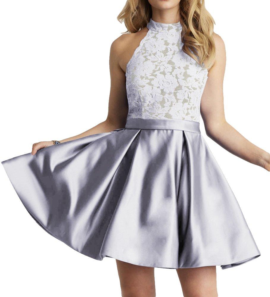 JAEDEN Homecoming Dress High Neck Short Cocktail Dress Sleeveless Lace Homecoming Dresses Quite Gray