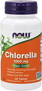 Now Supplements, Chlorella 1000 mg with Naturally Occurring Chlorophyll, Beta-Carotene, Mixed Carotenoids, Vitamin C, Iron and Protein, 60 Tablets