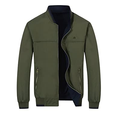 f92844f956a RongYue Men s Fashion Reversible Cotton Jacket Lightweight Windbreaker