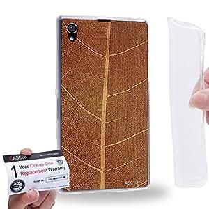 Case88 [Sony Xperia Z1] Gel TPU Carcasa/Funda & Tarjeta de garantía - Art Print Leaf Wood Art Art1865
