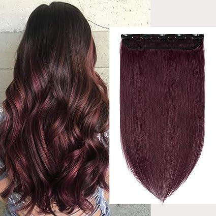 S-noilite® Extensiones de clip de pelo natural cabello humano #99J Vino tinto - 100% Remy hair – 1 piezas 5 clips (50cm-50g)