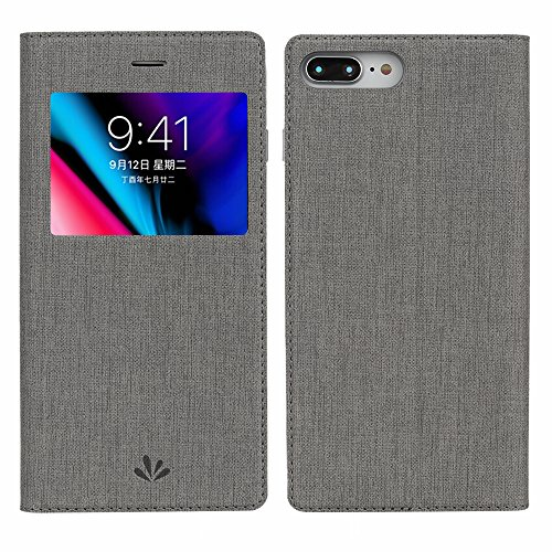 iPhone 8 Plus Case, iPhone 7 Plus Case, Premium Leather PU Flip Folio Wallet Case with View Window Stand Kicstand Card Holder Magnetic Closure TPU Bumper Full Cover Slim Leather Case Feitenn - Gray